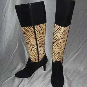VANELI Black Suede & Animal Print boots Sz 8